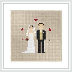 Custom wedding Cross Stitch Pattern PDF Mr and Mrs