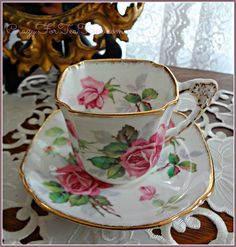 Uniquely-Shaped Tea Cup & Saucer in the Berkeley Rose pattern by Royal Stafford