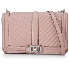 Rebecca Minkoff Chevron Quilted Love Crossbody ($250) ❤ liked on Polyvore featuring bags, handbags, shoulder bags, pink, leather crossbody, vintage leather handbags, leather crossbody handbags, cross-body handbag and quilted leather shoulder bag