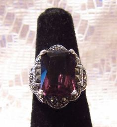 Vintage Sterling Silver with Purple Amethyst by ViksVintageJewelry, $49.99