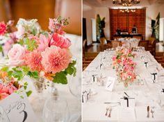 Centre de table corail bouquet de fleur mariage