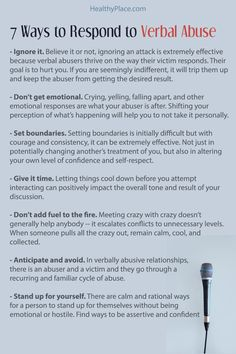 Learning how to respond to verbal abuse can improve how you handle hostile situations and increase your self-worth. Here's how to respond to verbal abuse. Abusive Relationship, Toxic Relationships, Healthy Relationships, Relationship Advice, Marriage Tips, Narcissistic People, Narcissistic Behavior, Narcissistic Abuse Recovery, Infp