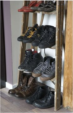 Spent last night assessing the wardrobe space I have, and the shoes I have, and concluded that an old ladder would do the trick.  Or a DIY 'ladder' from scrap timber.  Then I figured that as there are no original ideas, I'd scout the internet to see if anyone else had tried this and had success.  The short answer is 'yes'.