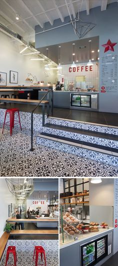 Arcsine Architecture designed Modern Coffee, a modern coffee shop in Oakland, California with a fun interior, featuring a stylish pattern floor, and a wide range of seating options to allow for casual conversation, quiet people watching, or collaborative work.