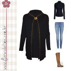 Look para aquecer: casaco em tricô! Dica, casaco preto para quem não dispensa o poder do preto em absorver o sol e aquecer. Com detalhe em pesponto amarelo para dar luz ao look. Para completar blusa básica, calça jeans e botas. #look #FloresDeLimaTrico #PeçaExclusiva #TaFrio