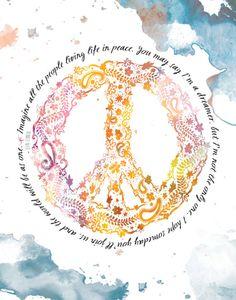 Peace Sign John Lennon  8x10 Metallic Print by LeslieSabella, $20.00