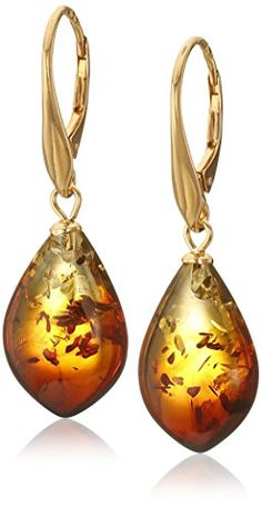 Rainbow Amber Sterling Silver Gold Plated Drop Earrings - http://darrenblogs.com/2016/02/rainbow-amber-sterling-silver-gold-plated-drop-earrings/