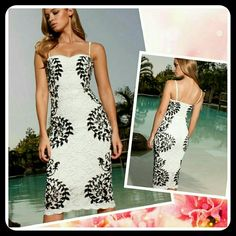 Lace Pencil Dress Very elegant, stylish white lace dress with a swirl, vine like print in black. 5% spandex blend. Sized M, but may run small so please refer to size chart in last image. Dresses