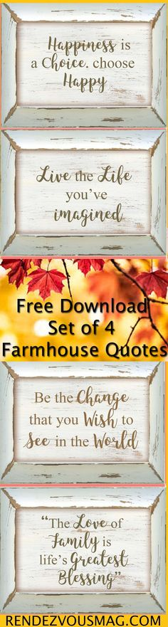 Free set of 4  Farmhouse Decor Prints- 8x10 Prints as shown in the pin.  Download and follow the plaque tutorial to complete as gifts or for yourself #printable  #farmhouse #farmhousedecor  #Quote #free