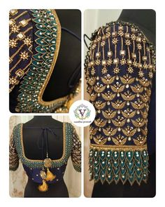 Bridal blouse with layered embroidery. Blouse Back Neck Designs, Cutwork Blouse Designs, Wedding Saree Blouse Designs, Hand Work Blouse Design, Simple Blouse Designs, Stylish Blouse Design, Aari Work Blouse, Designer Blouse Patterns, Grunge