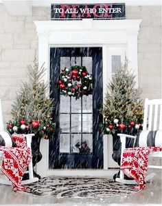 Snowy Holiday Porch - 2015 Holiday House Tour