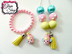 Shopkins Bracelet and Necklace MABEL SYRUP Easter by GlamShopBeads