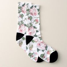 Botanical Pink Cabbage Rose Flowers Socks - diy cyo customize create your own personalize