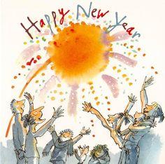 New Year Illustration, Vintage Illustration Art, New Year Greetings, Birthday Greetings, Quentin Blake Illustrations, Leo Lionni, Roald Dahl, Nouvel An, Drawing Skills