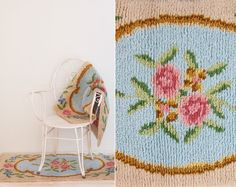Set Of 2 Vintage 1950s Rugs  Romantic Floral by goldencranehome