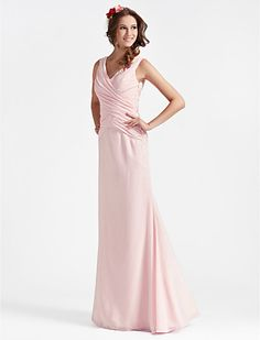 A-line V-neck Floor-length Chiffon Bridesmaid Dress With Criss-Cross Bodice - USD $ 97.99