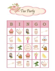 Tea Party Bingo 30 Printable Bingo Game Cards for Girls Birthday / Bridal Shower / Mothers Day Tea Party Activities, Tea Party Crafts, Tea Party Games, Tea Party Theme, Tea Party Decorations, Tea Party Birthday, Craft Party, Girl Birthday, Fairy Tea Parties