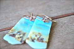 Aquamarine Blue Amazonite Slice Earrings 14k Rose by JLaurynDesign