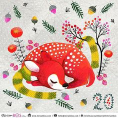 Wow, 20 days left in the #Christmascountdownwithmiriambos  I drew a sleeping fawn. With a scarf of course, because I don't want it to catch a cold.   Wishing you all a super fun weekend!   #illustrati | von Miriam Bos | illustration & surface pattern design