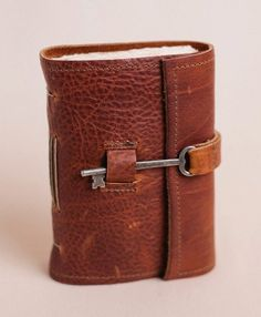 Love the key closure - Keep your secrets safe inside: Skeleton Key Locking Leather Journal by Binding Bee
