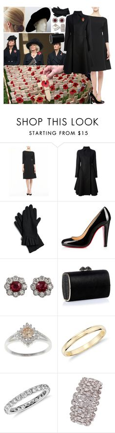 """""""What a Royalista Would Wear for Remembrance Sunday"""" by charlottedebora ❤ liked on Polyvore featuring Lela Rose, Lanvin, Echo, Christian Louboutin, Jimmy Choo and Blue Nile"""