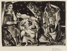 Pablo Picasso - 'Blind Minotaur Led by a Little Girl in the Night', 1937 http://www.theartsdesk.com/visual-arts/picasso-prints-vollard-suite-british-museum