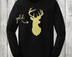 Christmas, reindeer, gold and black, mason chix, holiday shirt, long sleeve, Christmas shirt