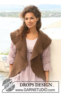 "Free pattern: DROPS waistcoat in garter st in ""Nepal"" with turns. Size S to XXXL. ~ DROPS Design"