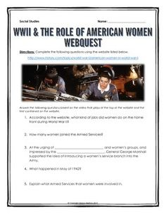 World War Two and the Role of American Women - Webquest with Key - This 6 page document contains a webquest and teachers key related to the history of the role of American women in World War Two. It contains 15 questions from the history.com website.  Your students will learn about the history and significance of the role of women in the war effort during World War Two.