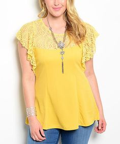 Look what I found on #zulily! Yellow Lace Flutter-Sleeve Top - Plus #zulilyfinds