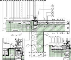Detailseite - Planungsatlas Hochbau - Einschalige Außenwand aus Normalbeton mit Wärmedämmverbundsystem - Thermisch getrennte, auskragende Decke/Balkon- bzw. Trogplatte - barrierefreier Balkonanschluss, Variante 2, Fenster/Tür im oberen Geschoss, Fensterlage in Dämmebene -