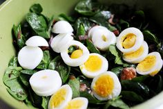 Pioneer Woman's Spinach Salad - - -   3 whole Eggs  7 slices Thick Cut, Peppered Bacon  1 whole Red Onion, Small  1 package Mushrooms, White Button  8 ounces, weight Baby Spinach, Washed Dried And Stems Removed  3 Tablespoons Reserved Bacon Grease  3 Tablespoons Red Wine Vinegar  2 teaspoons Sugar  1/2 teaspoon Dijon Mustard  1 dash Salt