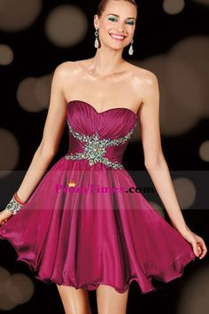 2015 Terrific Sweetheart Pleated Bodice Short/Mini Homecoming Dress Chiffon USD 125.99 PTP3Q7B1FD - PromTimes.com for mobile