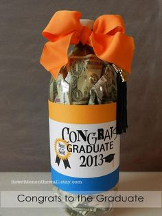 Unique Graduation Gift for boys or girls-Fill a soda bottle with Cash, Sweet Treats or other gifts.  Labels and gift cards available.