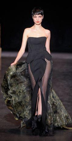 Basil Soda HC FW 2013 | black | strapless | peplum | sheer evening gown with flowy train