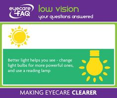 if you or someone you know has vision problems, remember that new bright light bulbs can make a world of difference. They can make it safer to get round the house too, for older people.