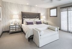 Modern Master Bedroom with Sunpan modern pandora wingback bed, Pasha cape upholstered bench, Carpet, French doors