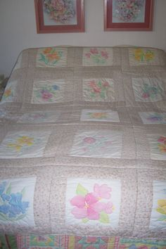 QUILT OF FLOWERS Hand painted and hand stitched original design by MS.RENA