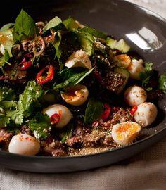 Thai Beef Salad with Quail Eggs - Karen Martini