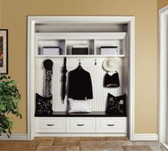 Take off your closet door to make space in your entryway... what a great way to add a place to sit in my tiny entryway