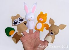 .Felt finger puppets  bunny  raccoon