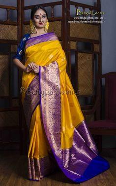 Pure Handloom Katan Silk Banarasi Saree in Yellow and Blue Kanjivaram Sarees Silk, Banarsi Saree, Kanchipuram Saree, Sambalpuri Saree, Saree Dress, Dhoti Saree, Maxi Dresses, Katan Saree, Pattu Saree Blouse Designs