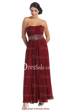 Breath-taking Strapless A-line Evening Gown with Striking Waistband