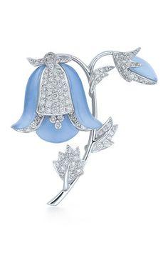 Vintage Kwiat Blue Bell Chalcedony & Diamond Brooch
