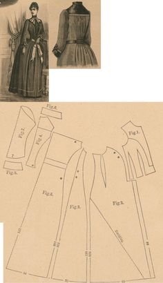 Der Bazar 1888: Morning wrapper from red flanel and brownish-red flanel accents (with red atlas ribbon-bows); 1. bodice's front part, 2. wrapper's front part, 3. side gore, 4. bodice's back part in half size, 5. wrapper's back gore in half size, 6. collar in half size, 7. sleeve in half size, 8. cuff in half size