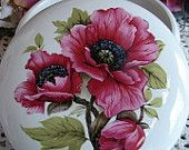 Bright Pink Poppies 5 Inch Ceramic Button /Jewelry/Paperclip Box