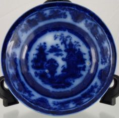Lots of good flow in this flow blue piece. - Another great example of flow blue this deep is usually the Lahore pattern....which this could be but it is a bit blury