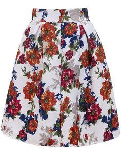 Yellow White Floral Midi Skirt
