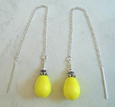 Neon Yellow Crystal Pearl Drop Silver Ear Thread by dkdangles