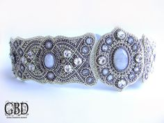 Silver/Gunmetal seed bead and cabochon Bead embroidered  belt - Guzel Bakeeva Design